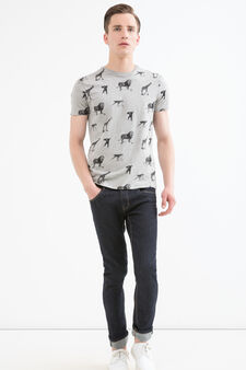 G&H patterned cotton T-shirt, Grey Marl, hi-res