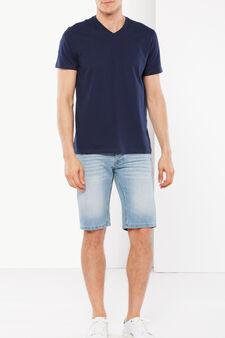 T-shirt with a V neck, Dark Blue, hi-res