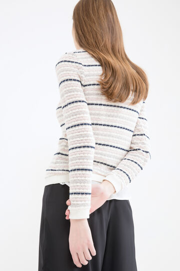 Striped cotton blend stretch sweatshirt, Powder Pink, hi-res