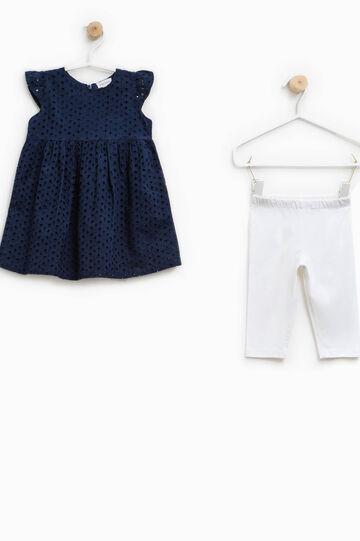 Conjunto de vestido y leggings, Blanco/Azul, hi-res