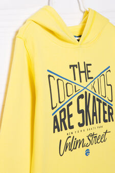 100% cotton hoodie with printed lettering, Yellow, hi-res