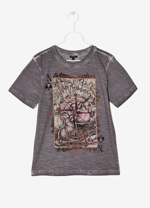 Worn-effect printed T-shirt | OVS