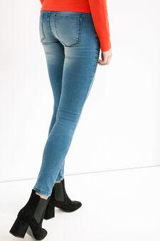 Jeans biker skinny fit stretch, Blu scuro, hi-res