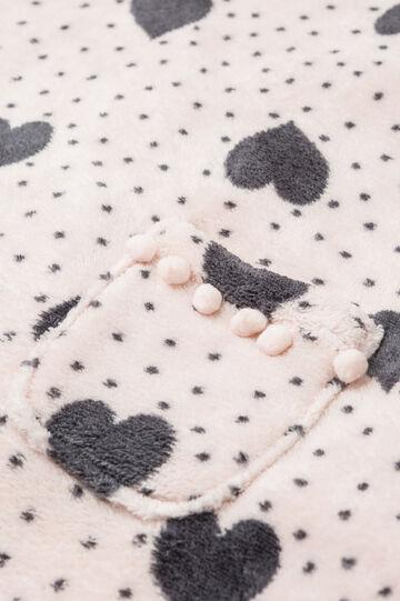 Fleece poncho robe with hearts, Pink, hi-res