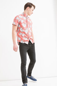 G&H printed cotton shirt, Red, hi-res