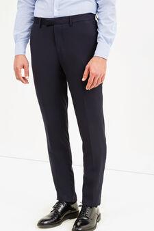 Elegant custom fit trousers with crease, Black, hi-res