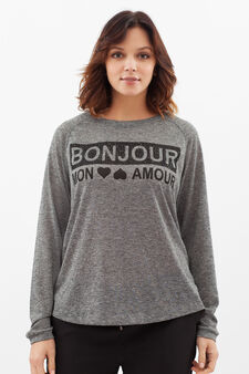 Curvy T-shirt with printed lettering, Grey Marl, hi-res