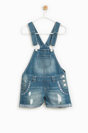 Denim dungarees with embroidery and sequins, Medium Wash, hi-res