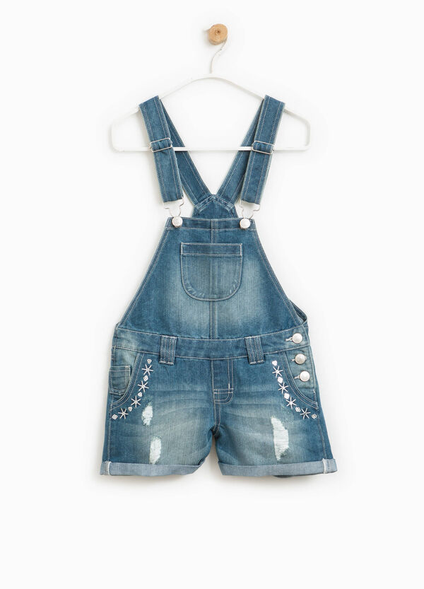 Denim dungarees with embroidery and sequins | OVS