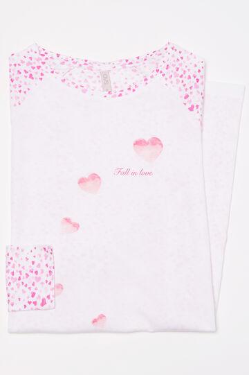 Camicia da notte in puro cotone, Bianco/Rosa, hi-res