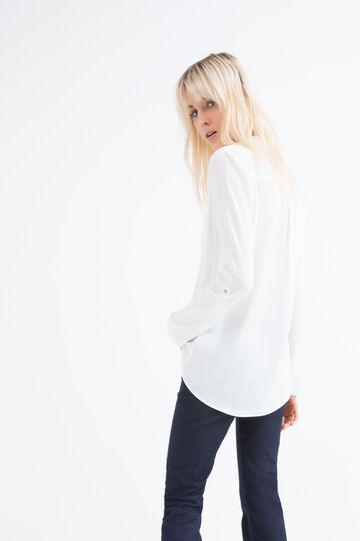 Solid colour 100% viscose blouse., White, hi-res