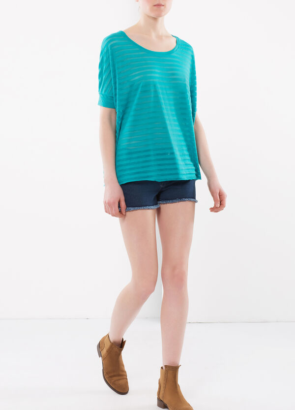 Blouse with see-through stripes | OVS