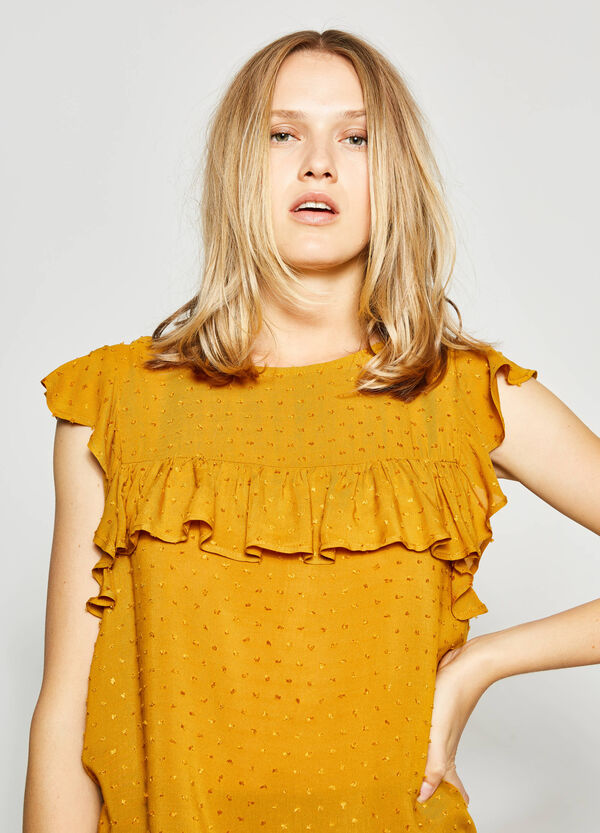 Blouse with speckled weave and flounce   OVS