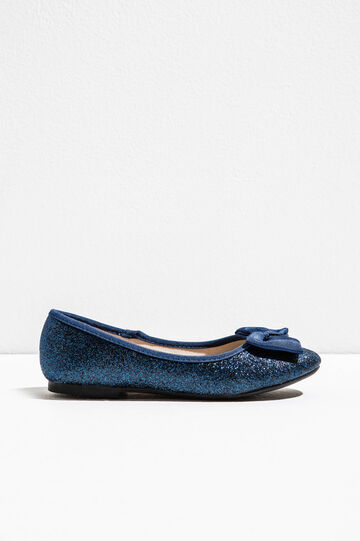 Glitter ballerina flats with bow, Blue, hi-res
