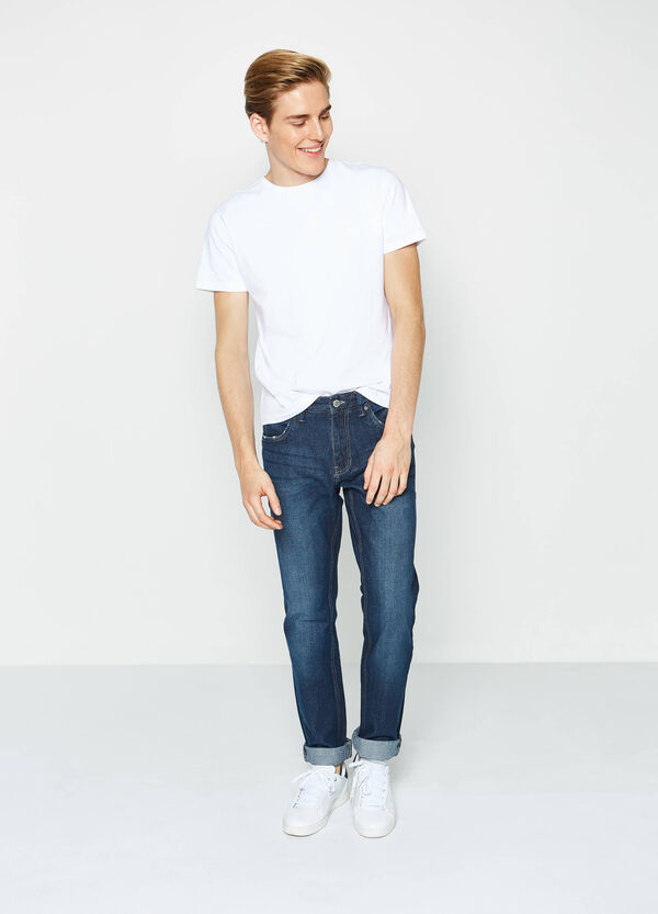 Worn-effect faded regular-fit jeans | OVS