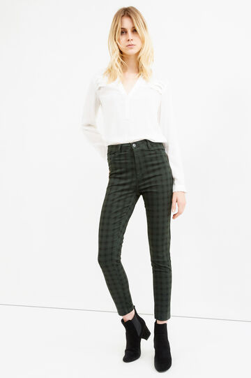 High-waisted check stretch trousers, Black/Green, hi-res