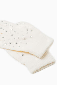 Solid colour gloves with diamantés, Cream White, hi-res