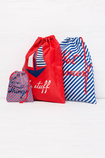 Three travel bags with print, Blue/Red, hi-res