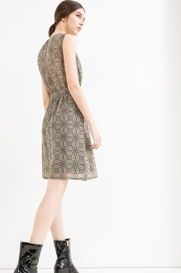 Patterned sleeveless dress in georgette, Black/Beige, hi-res