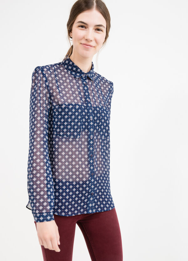 Semi-sheer shirt with all-over print | OVS