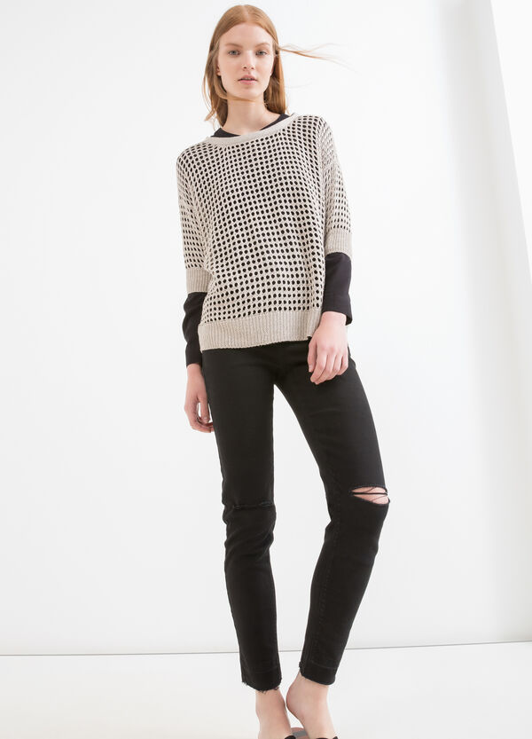 Solid colour openwork knit pullover | OVS