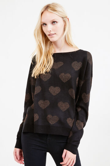 Pullover with glitter heart pattern, Black, hi-res