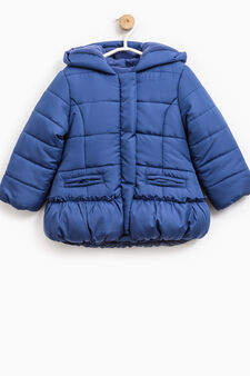 Solid colour down jacket with fleece lining, Blue, hi-res