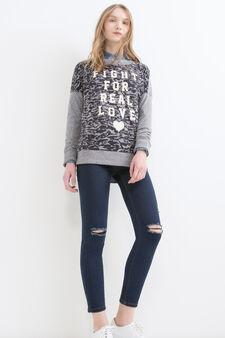 Cotton blend camouflage sweatshirt, Grey, hi-res