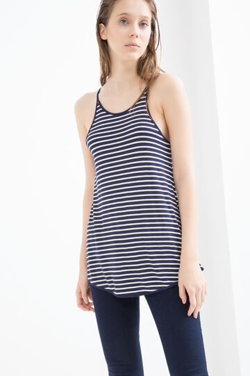 Top viscosa stretch a righe, Bianco/Blu, hi-res