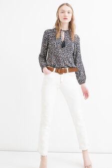 Jeans stretch con ricami, Bianco latte, hi-res