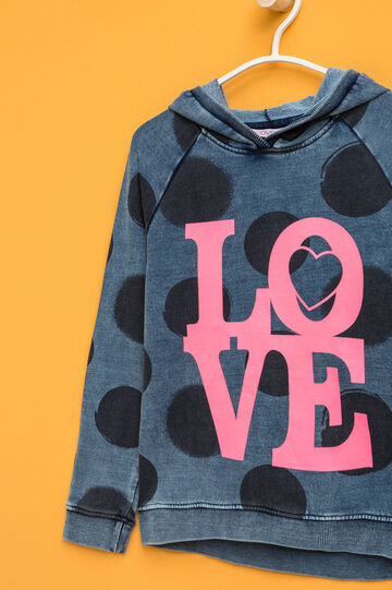 Polka dot sweatshirt with printed lettering