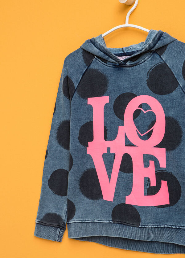 Polka dot sweatshirt with printed lettering | OVS