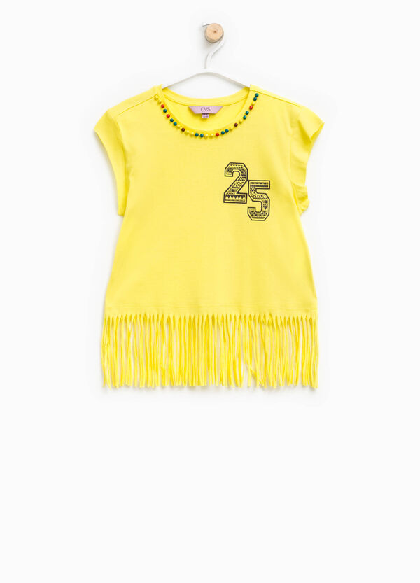 Crop T-shirt with beads and fringing | OVS