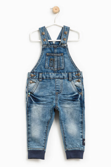 Denim dungarees with ribbing
