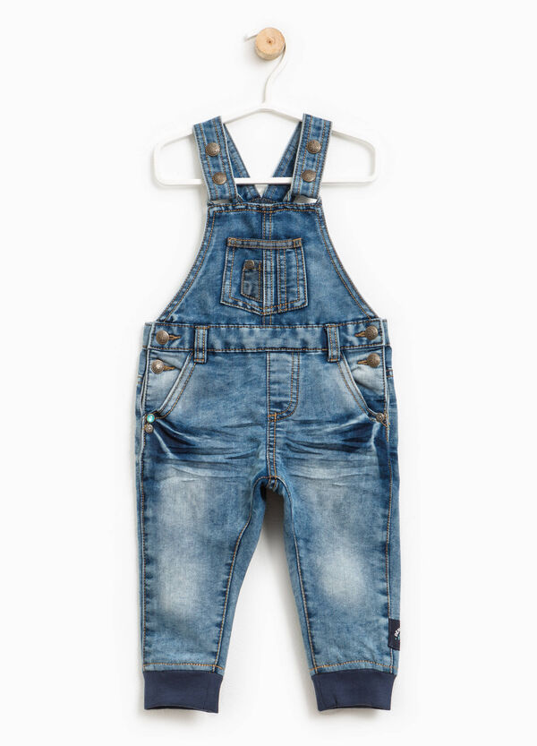 Denim dungarees with ribbing | OVS