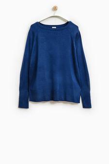 Smart Basic solid colour pullover, Denim Blue, hi-res