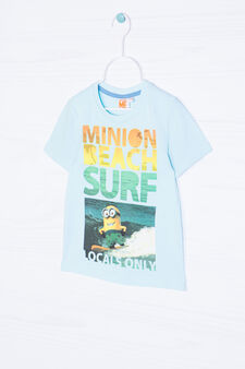 Minions printed T-shirt in 100% cotton, Light Green, hi-res