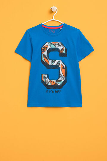 Printed cotton T-shirt with crew neck, Soft Blue, hi-res