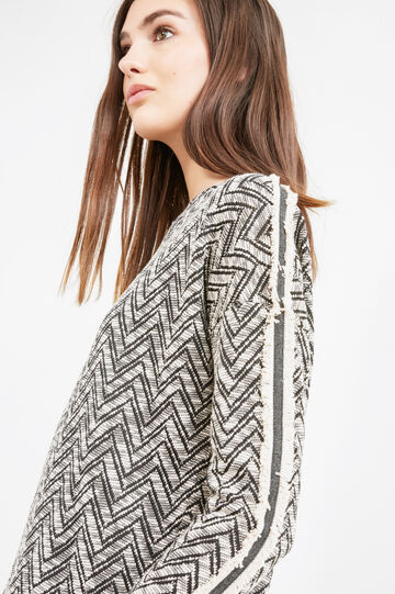 Jacquard sweatshirt with geometric pattern, Black, hi-res