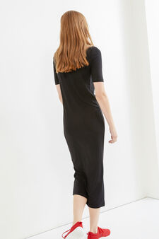 Long ribbed stretch dress, Black, hi-res