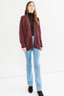 Knitted cardigan without buttons, Aubergine, hi-res