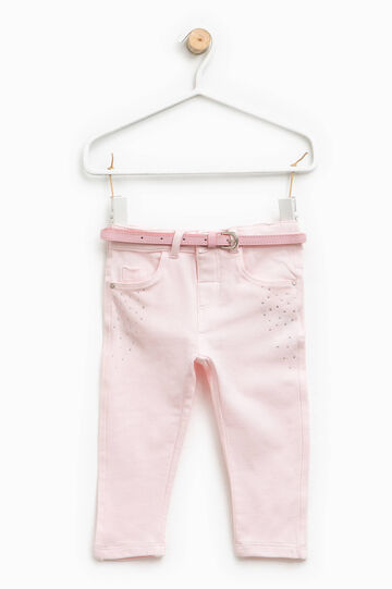 Trousers with belt and diamantés, Pink, hi-res