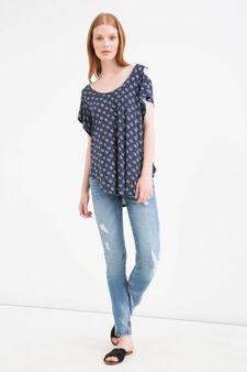 T-shirt pura viscosa stampata, Bianco/Blu, hi-res