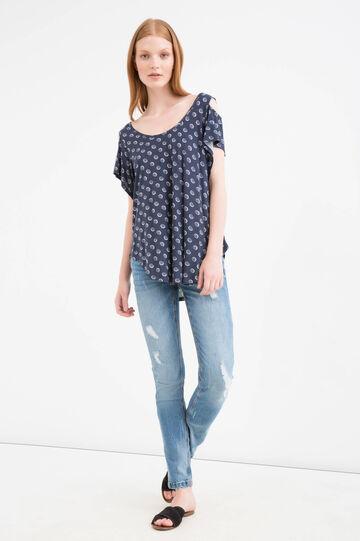 100% Viscose T-shirt with print, White/Blue, hi-res