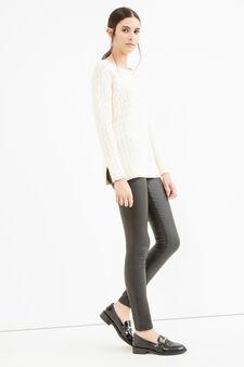 Cotton striped weave pullover, White, hi-res