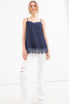 Blouse with floral inserts, Blue, hi-res