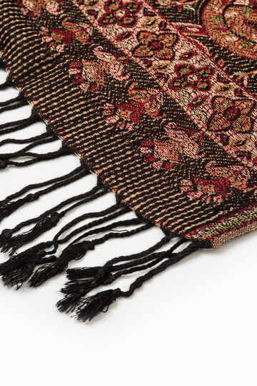 Jacquard scarf with paisley pattern, Black/Red, hi-res