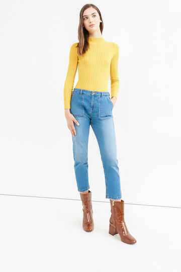 Ribbed pullover with high neck, Yellow, hi-res