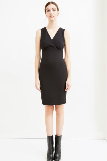 Sleeveless stretch jersey dress, Black, hi-res
