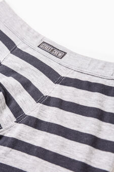 Striped stretch cotton boxers, Grey Marl, hi-res